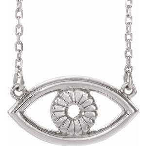 "Evil Eye 18"" Necklace 14K White Gold Ethical Sustainable Fine Jewelry Storyteller by Vintage Magnality"