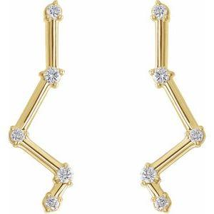 14K Yellow Gold 1/10 CTW Diamond Constellation Earring Climbers Ethical Sustainable Fine Jewelry Storyteller by Vintage Magnality