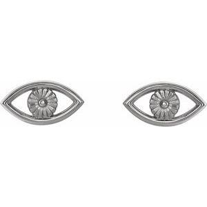 Evil Eye Earrings 14K White Gold Ethical Sustainable Fine Jewelry Storyteller by Vintage Magnality
