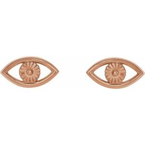 Evil Eye Earrings 14K Rose Gold Ethical Sustainable Fine Jewelry Storyteller by Vintage Magnality