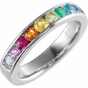 Chanel-Set Multi-Gemstone Rainbow Anniversary Band Ring 14K White Gold Ethical Sustainable Fine Jewelry Storyteller by Vintage Magnality