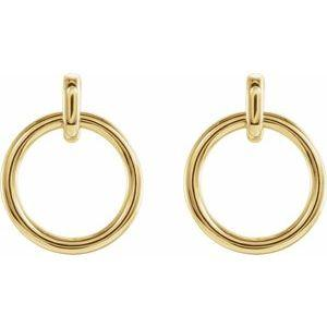 Circle Dangle Earrings 14K Yellow Gold  Ethical Sustainable Fine Jewelry Storyteller by Vintage Magnality