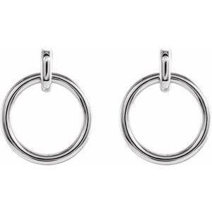 Circle Dangle Earrings 14K White Gold or Silver Ethical Sustainable Fine Jewelry Storyteller by Vintage Magnality