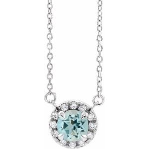 "3.5 MM Round Aquamarine & .04 CTW Diamond 16"" Necklace 14K White Gold Ethical Sustainable Fine Jewelry Storyteller by Vintage Magnality"
