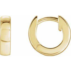 Hinged Hoop Earrings 14K Yellow Gold 9.52x2.47mm Ethical Sustainable Fine Jewelry Storyteller by Vintage Magnality