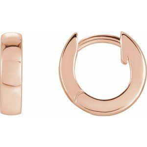 Hinged Hoop Earrings 14K Rose Gold 9.52x2.47mm Ethical Sustainable Fine Jewelry Storyteller by Vintage Magnality