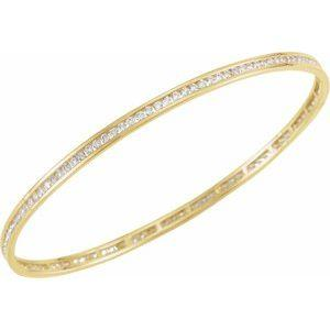"14K Yellow Gold 2.25 CTW Diamond Stackable Bangle 8"" Bracelet Ethical Sustainable Fine Jewelry Storyteller by Vintage Magnality"