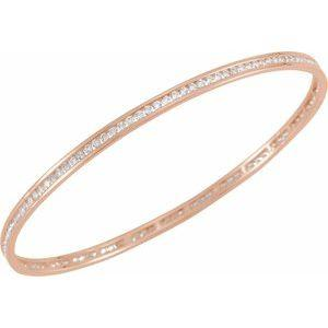 "14K Rose Gold 2.25 CTW Diamond Stackable Bangle 8"" Bracelet Ethical Sustainable Fine Jewelry Storyteller by Vintage Magnality"
