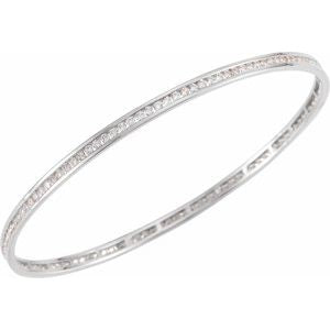 "14K White Gold 2.25 CTW Diamond Stackable Bangle 8"" Bracelet Ethical Sustainable Fine Jewelry Storyteller by Vintage Magnality"