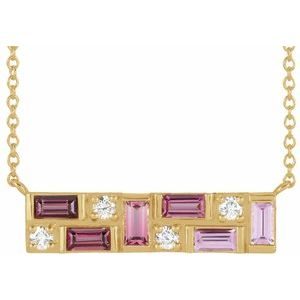 Pink Multi-Gemstone and 1/8 CTW Diamond Bar 18