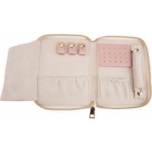 Cruelty-Free Leatherette Jewelry Travel Case in Blush Storyteller by Vintage Magnality