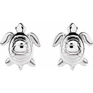 Turtle Stud Earring 14K White Gold Platinum or Silver Ethical Sustainable Jewelry Storyteller by Vintage Magnality