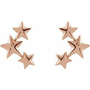 14K Rose Gold Star Ear Climbers Ethical Sustainable Jewelry Storyteller by Vintage Magnality