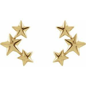 14K Yellow Gold Star Ear Climbers Ethical Sustainable Jewelry Storyteller by Vintage Magnality