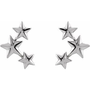 14K White Gold Star Ear Climbers Ethical Sustainable Jewelry Storyteller by Vintage Magnality