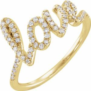 1/4 CTW Diamond Love Script Ring 14K Yellow Gold Ethical Sustainable Fine Jewelry Storyteller by Vintage Magnality