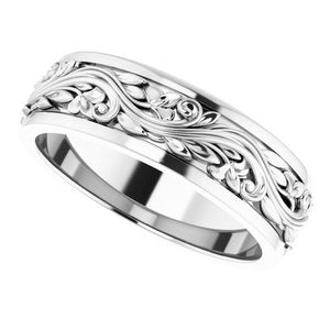 Sterling Silver 7 mm Sculptural-Inspired Band Size 10