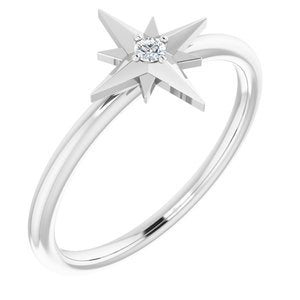 .03 CT Diamond Star Ring 14K White Gold Ethical Sustainable Fine Jewelry Storyteller by Vintage Magnality