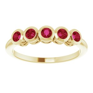 5 Stone Bezel-Set Ruby Ring 14K Yellow Gold Ethical Sustainable Fine Jewelry Storyteller by Vintage Magnality