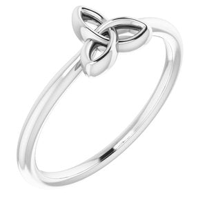Stackable Celtic-Inspired Trinity Ring 14K White Yellow Rose Gold Silver