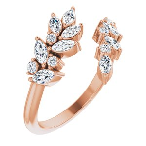 14K Rose Gold 1/2 CTW Diamond Bypass Ring Ethical Sustainable Fine Jewelry Storyteller by Vintage Magnality