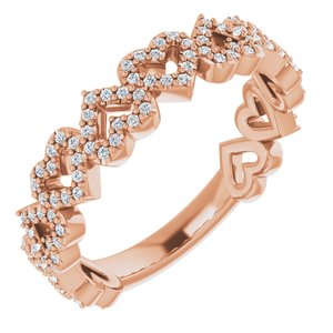 1/3 CTW Diamond Stackable Heart Ring 14K Rose Gold Ethical Sustainable Fine Jewelry Storyteller by Vintage Magnality