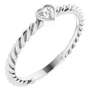 1/6 CT Heart Diamond Bezel-Set Rope Ring 14K White Gold Ethical Sustainable Fine Jewelry Storyteller by Vintage Magnality
