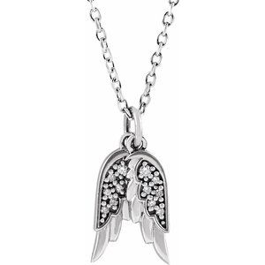 ".03 CTW Diamond Angel Wings 16-18"" Necklace 14K White Gold Ethical Sustainable Fine Jewelry Storyteller by Vintage Magnality"
