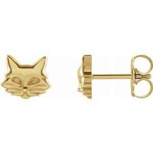 14K Yellow Gold Tiny Cat Stud Earrings Ethical Sustainable Fine Jewelry Storyteller by Vintage Magnality