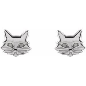 14K White Gold or Sterling Silver Tiny Cat Stud Earrings Ethical Sustainable Fine Jewelry Storyteller by Vintage Magnality