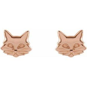14K Rose Gold Tiny Cat Stud Earrings Ethical Sustainable Fine Jewelry Storyteller by Vintage Magnality