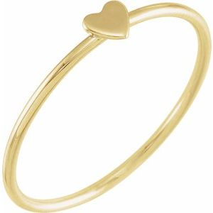 Stackable Heart Ring 14K Yellow Gold Ethical Sustainable Fine Jewelry Storyteller by Vintage Magnality