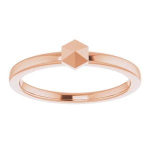 14K Rose Gold Geometric Stackable Ring Ethical Sustainable Fine Jewelry Storyteller by Vintage Magnality