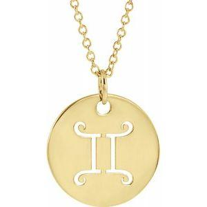 "Gemini Zodiac Disc 16-18"" Necklace 14K Yellow Gold Sustainable Ethical Fine Jewelry Storyteller by Vintage Magnality"