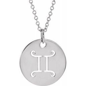 "Gemini Zodiac Disc 16-18"" Necklace 14K White Gold Sustainable Ethical Fine Jewelry Storyteller by Vintage Magnality"
