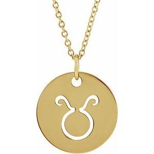 "Taurus Zodiac Disc 16-18"" Necklace 14K Yellow Gold Sustainable Ethical Fine Jewelry Storyteller by Vintage Magnality"