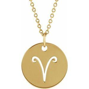 "Aries Zodiac Disc 16-18"" Necklace 14K Yellow Gold Sustainable Ethical Fine Jewelry Storyteller by Vintage Magnality"