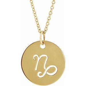 "Capricorn Zodiac Disc 16-18"" Necklace 14K Yellow Gold Sustainable Ethical Fine Jewelry Storyteller by Vintage Magnality"