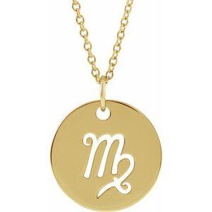 "Virgo Zodiac Disc 16-18"" Necklace 14K Yellow Gold Sustainable Ethical Fine Jewelry Storyteller by Vintage Magnality"