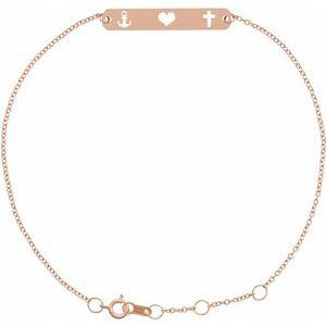 "Faith Love Hope Bar 6 1/2-7 1/2"" Bracelet 14K Rose Gold Ethical Sustainable Fine Jewelry Storyteller by Vintage Magnality"