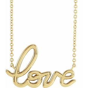 "Love 18"" Necklace 14K Yellow White Rose Gold"