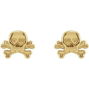 Petite Skull & Crossbones Earrings 14K Yellow Gold Ethical Sustainable Fine Jewelry Storyteller by Vintage Magnality