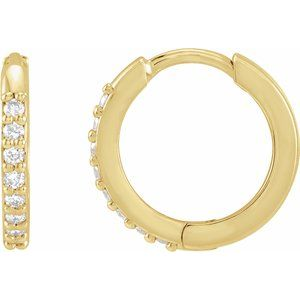 1/8 CTW Diamond Hinged 12.5mm Hoop Earrings 14K Yellow Gold Ethical Sustainable Fine Jewelry Storyteller by Vintage Magnality
