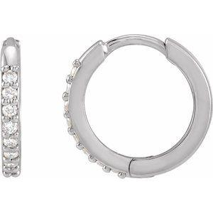 1/8 CTW Diamond Hinged 12.5mm Hoop Earrings 14K White Gold Ethical Sustainable Fine Jewelry Storyteller by Vintage Magnality