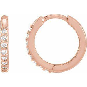 1/8 CTW Diamond Hinged 12.5mm Hoop Earrings 14K Rose Gold Ethical Sustainable Fine Jewelry Storyteller by Vintage Magnality