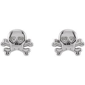 Petite Skull & Crossbones Earrings 14K White Gold Platinum or Silver Ethical Sustainable Fine Jewelry Storyteller by Vintage Magnality