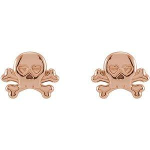 Petite Skull & Crossbones Earrings 14K Rose Gold  Ethical Sustainable Fine Jewelry Storyteller by Vintage Magnality