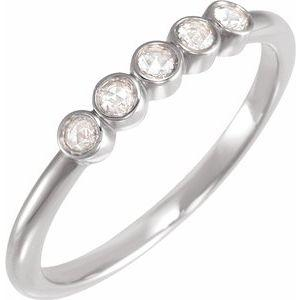14K White Gold 1/8 CTW Rose-Cut Diamond Stackable Ring Ethical Sustainable Fine Jewelry Storyteller by Vintage Magnality