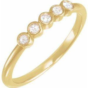 14K Yellow Gold 1/8 CTW Rose-Cut Diamond Stackable Ring Ethical Sustainable Fine Jewelry Storyteller by Vintage Magnality