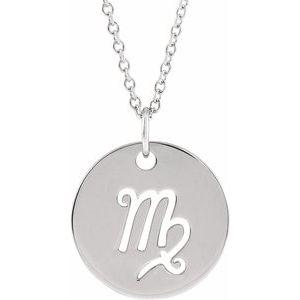 "Virgo Zodiac Disc 16-18"" Necklace 14K White Gold Sustainable Ethical Fine Jewelry Storyteller by Vintage Magnality"